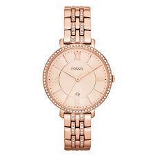 FOSSIL Uhr ES3546 JACQUELINE Damen Edelstahl Rosegold Armbanduhr Strass Datum