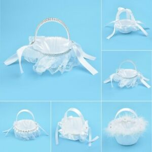 Xmas Gift Satin Silk And Lace Small Flower Girl Basket Wedding Petals Decoration
