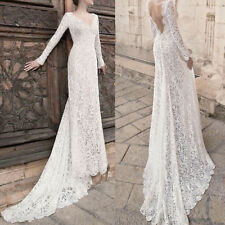Women Lace Bridesmaid Wedding Formal Evening Party Long Maxi Dress Trailing Gown