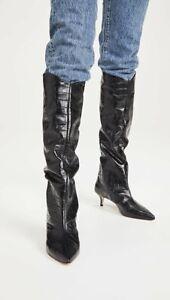 Anthropologie Schutz Abbey Tall Kitten-Heeled Boots Size 8 Black Knee High