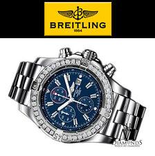 Breitling Super Avenger Aeromarine A13370 Blue Sticks Dial 1 Row Diamond Bezel