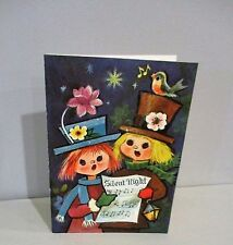 Vtg Christmas Card Grand Awards Mod Big Eyes Caroler Silent Night Robin Bird
