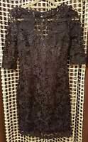 BNWT Lipsy Navy Blue Cut Out Detail Crochet Knee Length Shift Dress Size UK 8