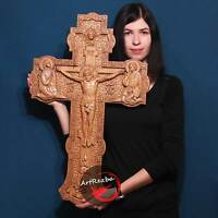"""Jesus on the Cross Large Wood Orthodox  religious Carved Crucifix (32"""" x 20"""")"""