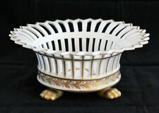 Goodfriend Fine Porcelain Spain Reticulated White Centerpiece Bowl Gilt Paw Feet