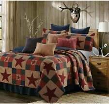 FULL QUEEN MOUNTAIN CABIN RED STARS 3 pc QUILT SET CHECKERS PRIMITIVE BLUE CREAM