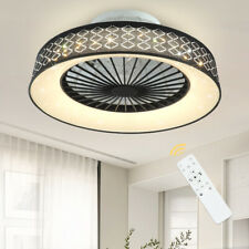 Modern Ceiling Fan 40W Dimmable Led Light Flush Mount Lamp Remote Control,Timing