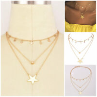 Gold Plated 3Layer Long Star Pendant Choker Necklace Short Tassel Necklace Gift