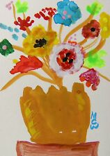 ORIGINAL ACEO Flowers Outsider  painting Mary Carol Williams MCW Folk ART ATC