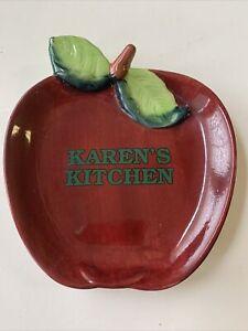 "Karen's Kitchen 5""Red Apple Dish Ceramic Wall Decor Papel Freelance"