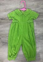 Shrimp And Grits Girls Longall Green Corduroy Romper Size 9 Months Collar