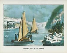 "1978 Vintage ""ICE BOAT RACE ON THE HUDSON RIVER"" CURRIER & IVES COLOR Lithograph"