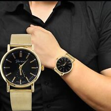 Moda Relojes Para Mujer Hombre Clásico Dorado Cuarzo Acero Inoxidable