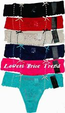 Pack of 6 pcs Lace Floral Fully Lacey Thong Panties Lot New #5007 Size: L