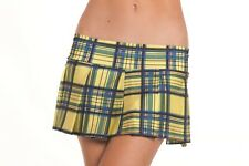 Yellow Pleated Plaid School Girl Skirt S/m - Be Wicked BW830YW