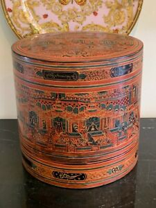 Antique Burmese Asian Bamboo Red Lacquer Food Stacked Boxes with Painted Scenes