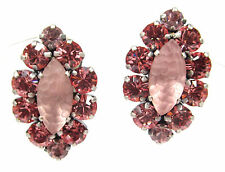 SoHo® Ohrclips bohemia navette geschliffene Kristalle rose rosa mattiert elegant