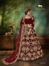Anarkali Salwar Kameez Traje Vestido Mujer Indio Ropa de Fiesta Bodas Velvett