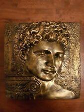 Italian Renaissance Michelangelo David Column Bronzed Ornate Plaster Wall Plaque