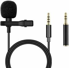 Clip-on Lapel Mini Lavalier Mic Microphone 3.5mm Adapter For Phone PC Recording