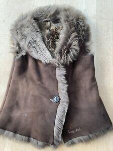 Ruby and Ed Sheepskin Gilet/Waistcoat Brown Size Small (please read description)