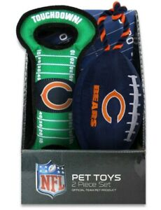 NFL CHICAGO BEARS PET TOYS - 2 Piece Set - NFL Official Team Product Brand New
