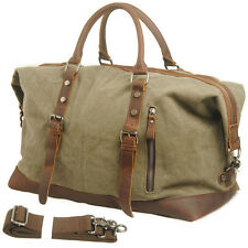 Canvas Leather Outdoor Sports Travel Luggage Shoulder Bag Carry Duffle Gym Bag