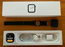 Apple Watch Series 4 44mm Space Gray Aluminum Case Leather Band (MTUW2LL/A)