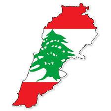 "Lebanon Map Flag car bumper sticker 5"" x 4"""