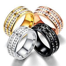 Men Women 8MM Stainless Steel CZ Titanium Ring Band Size 6-12 Engagement Wedding