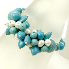 "Blue Magnesite Turquoise & White pearl stretch Bracelet 8"" for gift ideas*"