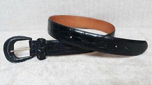 BRIGHTON - 43503 - EMBOSSED ALLIGATOR PRINT - BLACK Leather Belt - Size M / L