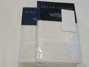 2 Ralph Lauren Analena Katrine Off White Embroidered euro shams $430