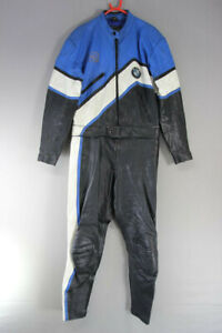 BLACK, BLUE & WHITE 2 PIECE CYCLE GEAR LEATHER BIKER SUIT: CHEST 40IN/WAIST 34IN