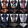 "HISDERN Mens Ties Paisley Floral 3.4""Silk Wedding Necktie Handkerchief Set#RF1"