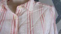 LOFT Ann Taylor Red & White Stripe Women Medium Long Sleeve Cotton Button Shirt
