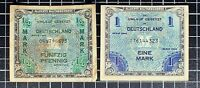 1944 German Military Currency 1/2  Mark 1 Mark Deutschland WW2 Germany Lot of 2