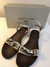 NIB: Women's JANET & JANET Gold W/ Rhinestones Flat Sandals US 10/EU 40 ($244)