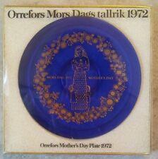 ORREFORS Mors Dags tallrik 1972 Blue Cobalt Mother's Day Plate Sweden NIP