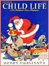Santa Claus Christmas Child Life Magazine Cover 1937 Vintage Reproduction Poster
