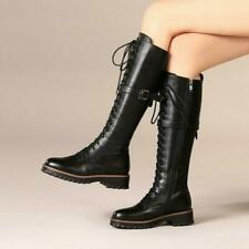Women's Western High Lace Up Round Toe Knee Flat Low Heel Riding Combat Boots