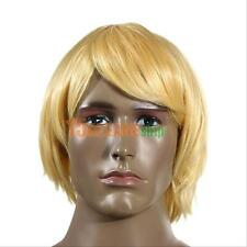 Fashion Men's Short Wig Blonde Male Hair Anime Cosplay Party Cool Straight Wigs