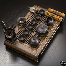 Boutique Chinese kung fu tea set real zisha tea pot tureen cup Wenge tea table