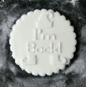 I'm Back! cookie embosser, Elf cookie stamp, Christmas fondant debosser,