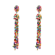 Boucles d'Oreilles Long Mini Perle Pompon Tassel Artisanal Multiclore AA21