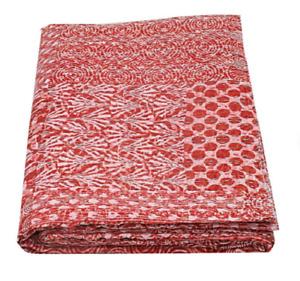 Handmade Red Color Patchwork Indigo Cotton Kantha Quilt Reversible Blanket