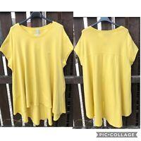 Plus Size Italian Lagenlook Swing Back Hi-Lo Hem Stretch Cotton Pocket Tunic Top