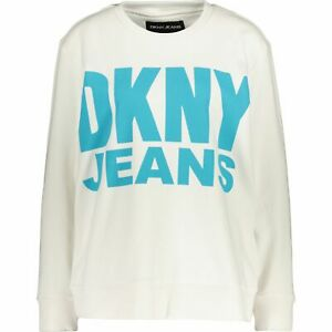 DKNY Women's White Branded Jersey Sweatshirt Sz: L (uk14), new