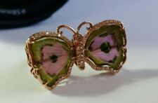 Watermelon Tourmaline Butterfly Women Ring 14k Rosegold