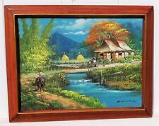 VINTAGE PHILLIPINES TROPICAL COUNTRY BEAUTIFUL LANDSCAPE OIL PAINTING  Framed